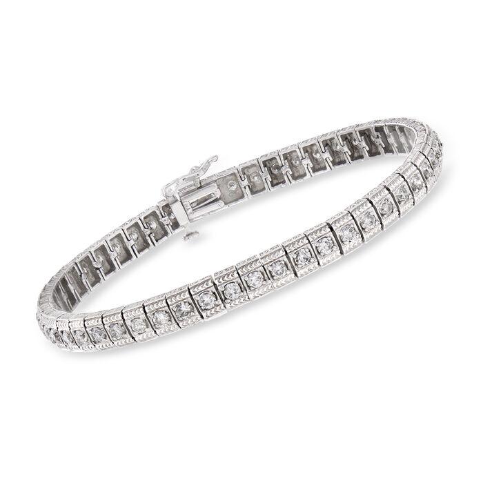 "C. 1980 Vintage 3.00 ct. t.w. Diamond Tennis Bracelet in 14kt White Gold. 7"", , default"