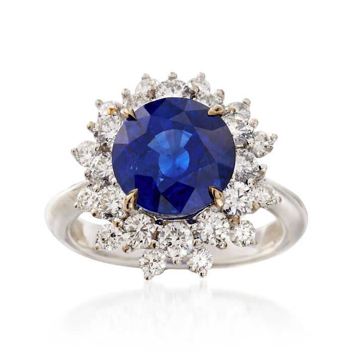 C. 1990 Vintage 4.15 Carat Sapphire and 1.55 ct. t.w. Diamond Ring in 18kt White Gold. Size 6.5