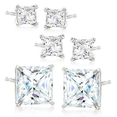 4.75 ct. t.w. CZ Jewelry Set: Three Pairs of Stud Earrings in Sterling Silver