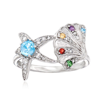 .55 ct. t.w. Multi-Gemstone Starfish and Seashell Ring in Sterling Silver