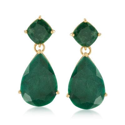 19.20 ct. t.w. Emerald Drop Earrings in 18kt Gold Over Sterling, , default
