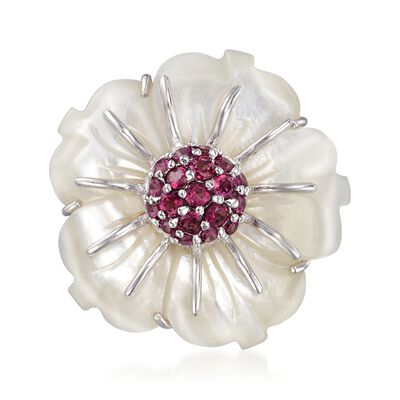 30mm Mother-Of-Pearl and 2.00 ct. t.w. Rhodolite Garnet Flower Pin in Sterling, , default