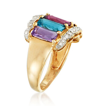C. 1980 Vintage 3.85 ct. t.w. Multi-Gemstone Ring in 14kt Yellow Gold. Size 7, , default
