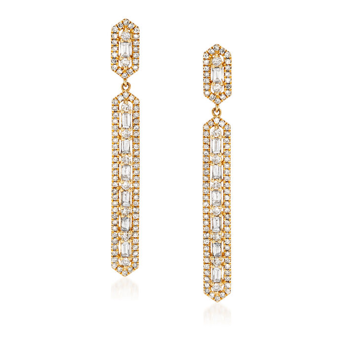 1.00 ct. t.w. Baguette and Round Diamond Linear Drop Earrings in 18kt Yellow Gold, , default