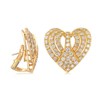 C. 1980 Vintage 3.00 ct. t.w. Diamond Heart Earrings in 18kt Yellow Gold