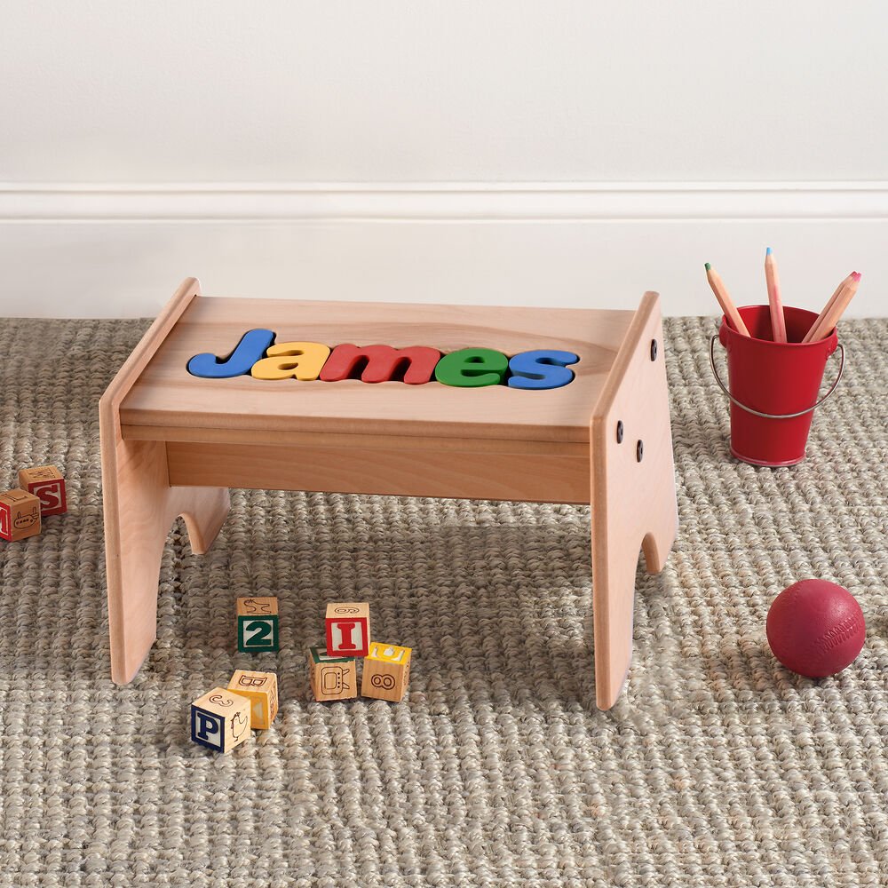 Surprising Childs Maple Finished Personalized Name Puzzle Stool Primary Colors Ocoug Best Dining Table And Chair Ideas Images Ocougorg