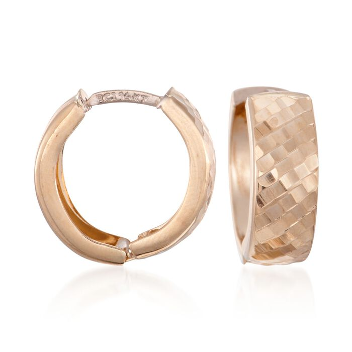 "14kt Yellow Gold Diamond-Cut and Polished Huggie Hoop Earrings. 5/8"", , default"