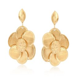 Italian 18kt Yellow Gold Multi-Finish Flower Drop Earrings, , default