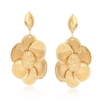 Italian 18kt Yellow Gold Multi-Finish Flower Drop Earrings, , default