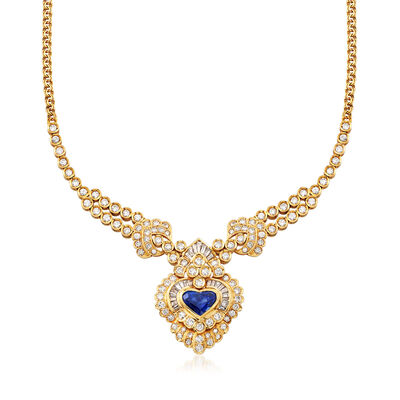 C. 1980 Vintage 5.40 ct. t.w. Diamond Necklace With 3.00 Carat Heart-Shaped Sapphire in 18kt Yellow Gold , , default