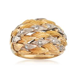 C. 1970 Vintage .25 ct. t.w. Diamond Leaves Ring in 10kt Two-Tone Gold. Size 6, , default