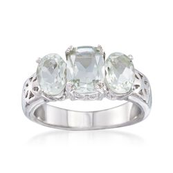 2.40 ct. t.w. Green Amethyst Three-Stone Ring in Sterling Silver, , default