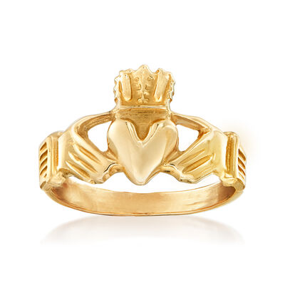 C. 1980 Vintage 14kt Yellow Gold Claddagh Ring, , default