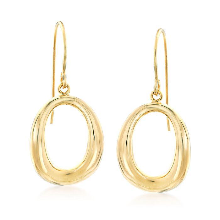 14kt Yellow Gold Open Oval Drop Earrings