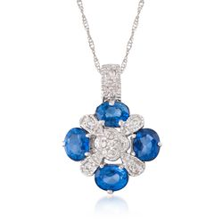 "1.60 ct. t.w. Sapphire and .15 ct. t.w. Diamond Pendant Necklace in 14kt White Gold. 16"", , default"