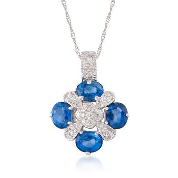 """1.60 ct. t.w. Sapphire and .15 ct. t.w. Diamond Pendant Necklace in 14kt White Gold. 16"""", , default"""