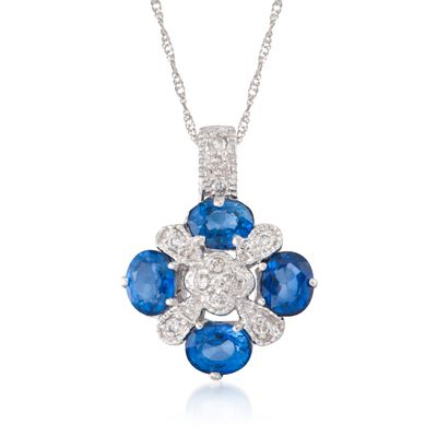 1.60 ct. t.w. Sapphire and .15 ct. t.w. Diamond Pendant Necklace in 14kt White Gold, , default
