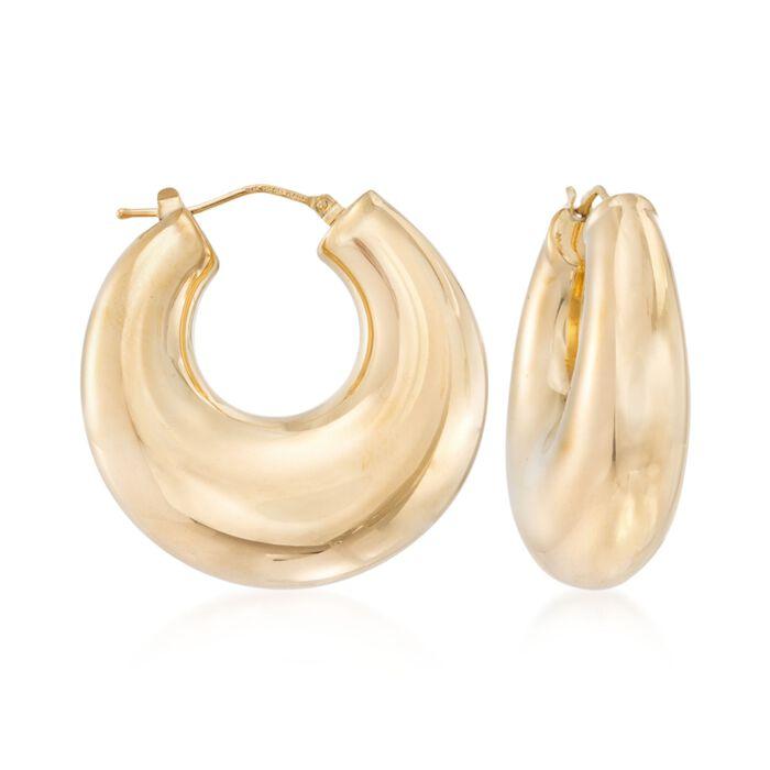 "Andiamo 14kt Yellow Gold Graduated Hoop Earrings. 1 1/4"", , default"