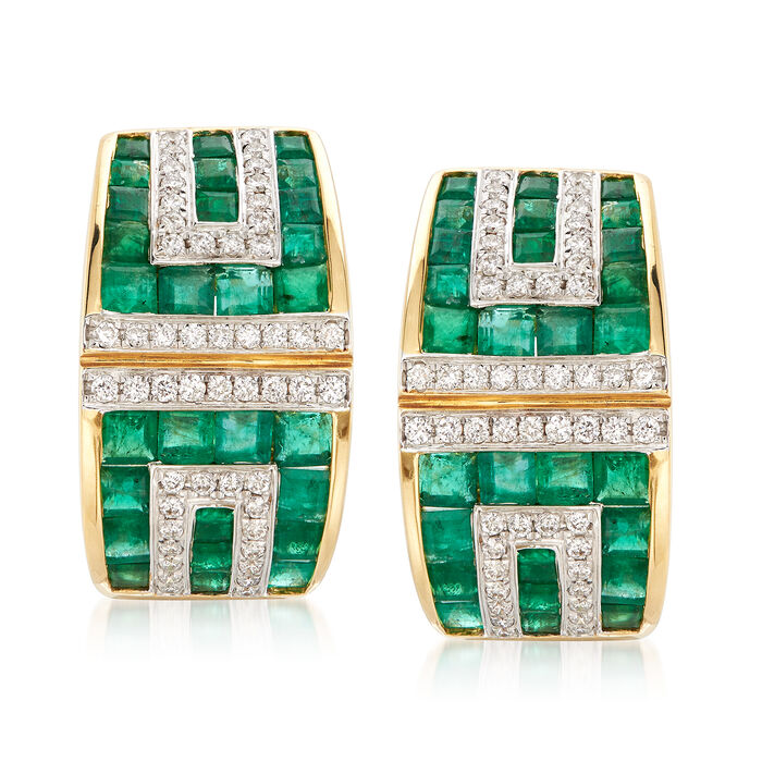 3.00 ct. t.w. Emerald and .41 ct. t.w. Diamond Geometric Drop Earrings in 18kt Yellow Gold, , default