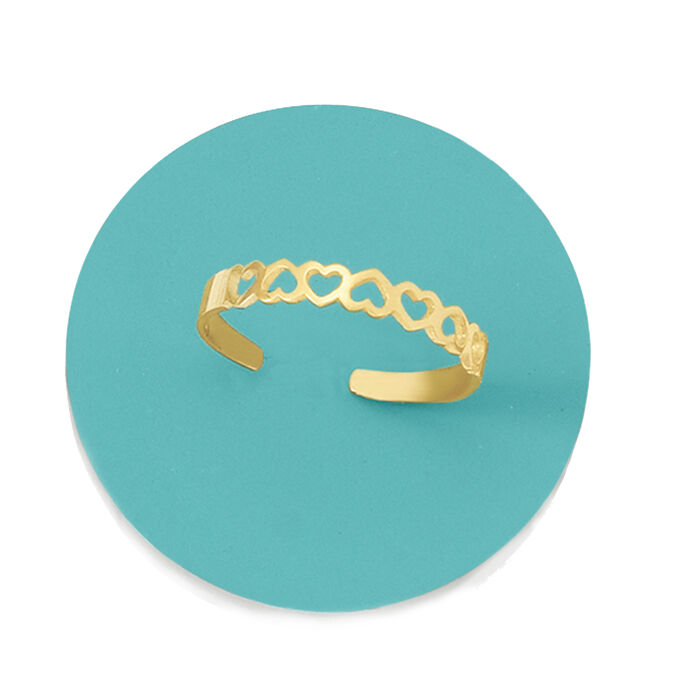 14kt Yellow Gold Openwork Hearts Toe Ring