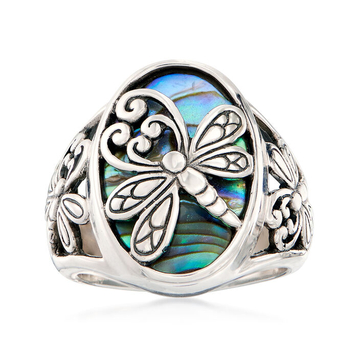 Abalone Shell and Sterling Silver Dragonfly Ring, , default