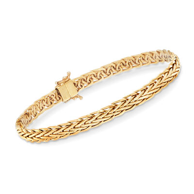 18kt Yellow Gold Wheat-Link Bracelet with Magnetic Clasp