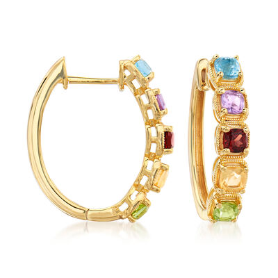 1.10 ct. t.w. Multi-Gemstone Hoop Earrings in 18kt Gold Over Sterling