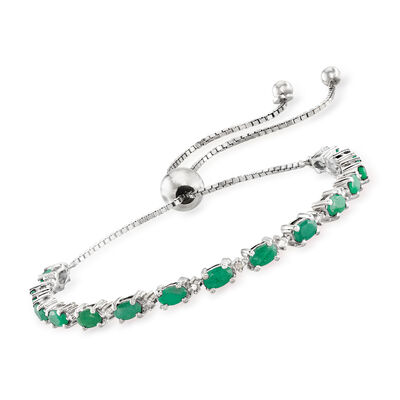 4.50 ct. t.w. Emerald Bolo Bracelet with Diamond Accents in Sterling Silver