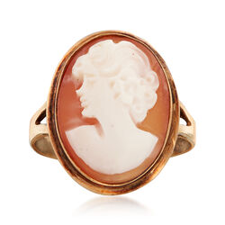 C. 1950 Vintage Carved Shell Cameo Ring in 14kt Yellow Gold. Size 7, , default