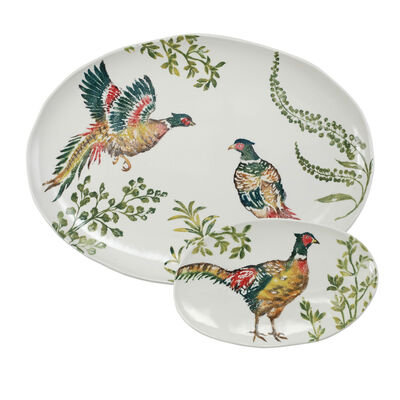 "Vietri ""Fauna"" Pheasants Oval Platter from Italy"