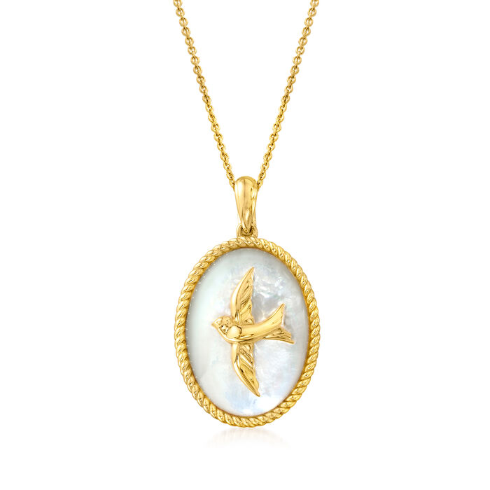 24x17mm Mother-Of-Pearl Bird Pendant Necklace in 18kt Gold Over Sterling