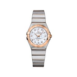 Omega Constellation Women's 27mm Mother-Of-Pearl Watch in Stainless Steel and 18kt Rose Gold With Diamonds , , default