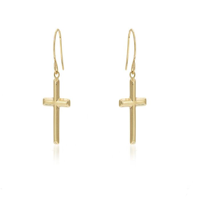 """14kt Yellow Gold Dangle Cross Earrings. 3/4"""", , default"""