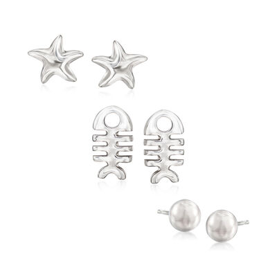 Italian Set of 3 Jewelry Set: Stud Earrings in Sterling Silver, , default