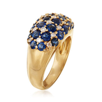 C. 1990 Vintage 2.80 ct. t.w. Sapphire and .32 ct. t.w. Diamond Multi-Row Ring in 18kt Yellow Gold. Size 5.5, , default