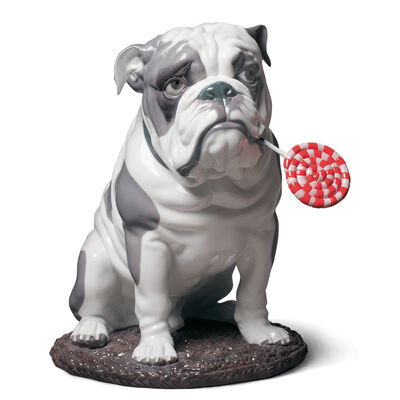 "Lladro ""Bulldog with Lollipop"" Porcelain Figurine, , default"