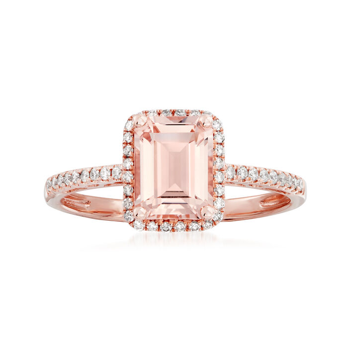 1.40 Carat Morganite and .21 ct. t.w. Diamond Ring in 14kt Rose Gold