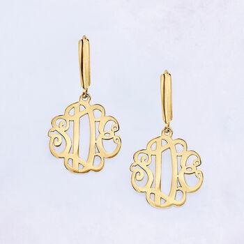 14kt Yellow Gold Monogram Drop Earrings , , default