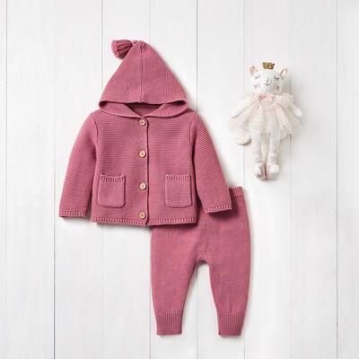 Elegant Baby Mauve 3-pc. Tassel Sweater Set, , default