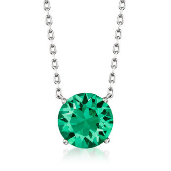 "Swarovski Crystal Jewelry Set: Green Necklace and Earrings in Sterling Silver. 16"", , default"