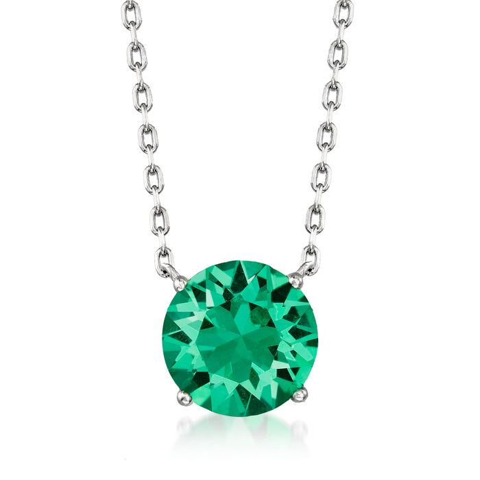 Jewelry Set: Green Swarovski Crystal  Necklace and Earrings in Sterling Silver