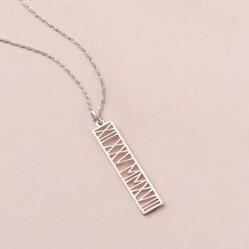 Sterling Silver Roman Numeral Personalized Date Pendant Necklace