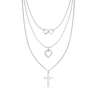 Italian Sterling Silver Symbol Layered Necklace