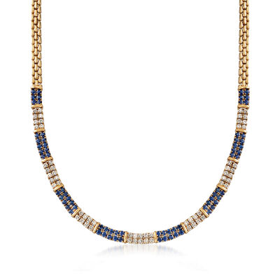 C. 1990 Vintage 8.00 ct. t.w. Sapphire and 3.60 ct. t.w. Diamond Necklace in 18kt Yellow Gold, , default