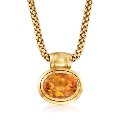 C. 1990 Vintage 16.50 Carat Citrine Pendant Necklace in 18kt Yellow Gold
