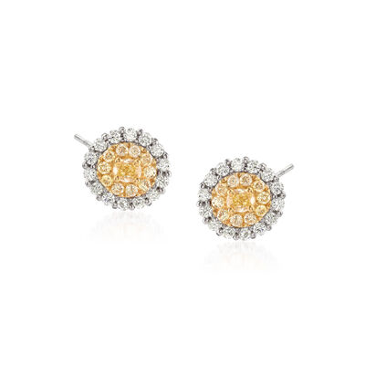 1.22 ct. t.w. Yellow and White Diamond Earrings in 18kt Two-Tone Gold, , default