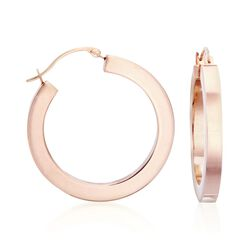 "Andiamo 14kt Rose Gold Hoop Earrings. 1"", , default"
