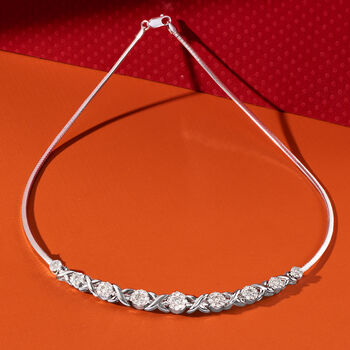 2.00 ct. t.w. Diamond XO Omega Necklace in Sterling Silver