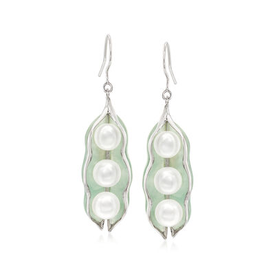 Cultured Pearl and Jade Pod Drop Earrings in Sterling Silver