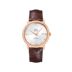 Omega De Ville Prestige Men's 39.5mm 18kt Rose Gold Watch With Brown Leather Strap , , default